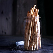 Grissini al papavero (bread sticks with poppy seeds and salt, Italy)