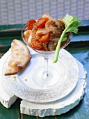 Marinated seafood with tomatoes and vodka