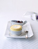 Soufflé di ricotta (ricotta souffle with grape compote)
