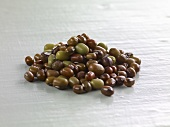 Brown and green mung beans