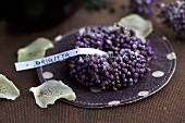 A wreath of beautyberries with sugar and a name tag