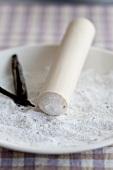 Vanilla sugar with a pestle