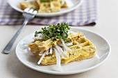 Egg waffles with radish and cress