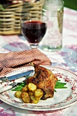 Confit de canard with roast potatoes and green beans (France)