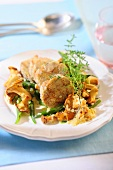 Chanterelle mushrooms with green beans and napkin dumplings