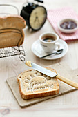 Breakfast toast embossed with the words Good Morning