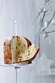 Panettone (traditional Christmas cake with candles)