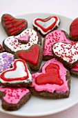 Frosted, Chocolate Heart Shaped Cookies