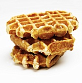 Stack of Three Belgium Waffles on White