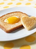 Egg in Toast with Heart Shape Bread Cut Out