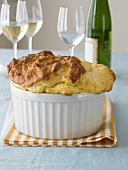 Souffle in Baking Dish; White Wine