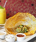 Indian Dosa with Condiments