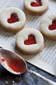 Jam Filled Heart Window Cookies; Spoon with Jam