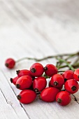 Rosehips on a white wooden surface