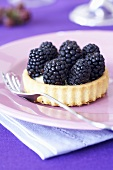 A blackberry tartlet on a pink plate