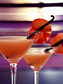 Plum martini with vanilla pods