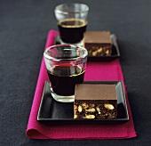 Chocolate fudge cake with nuts, espresso