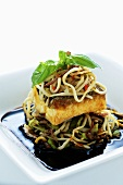 Turbot with udon noodles (Asia)