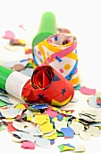 Party blowers and confetti (close-up)
