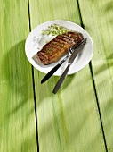 Grilled rump steak with cress