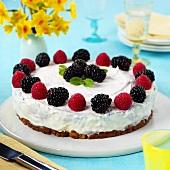 Cheesecake with blackberries and raspberries