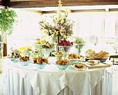Breakfast buffet in a restaurant