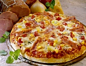 Pizza with sweetcorn, peppers and ham