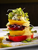 Stacked Tomato Salad with Blue Cheese and Dressing
