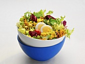 Mixed salad leaves with vegetables and egg