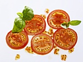 Tomato slices and basil