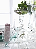 A table laid with glasses