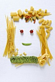 Amusing face made from pasta