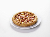 Ham, sweetcorn, chicken and onion pizza