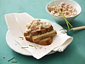 Shrimp salad on bread