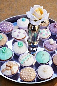 Cupcakes in silver dish