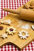 Assorted biscuits on wooden board