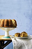 Potato Bundt cake with cranberries and potato damson dumplings