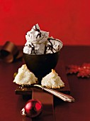 Almond and chocolate meringue and coconut mountains