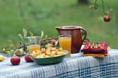 A bowl of apple compote and apple juice in an earthenware jug and in glasses on a table outside