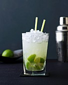 Caipirinha with limes and crushed ice
