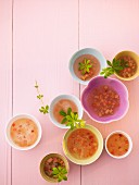 Bowls of champagne soup with woodruff and rhubarb (seen from above)