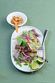 Glass noodle salad with beef, onions and Thai basil (Asia)