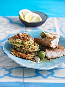 Courgette and lentil cakes with zander fillet