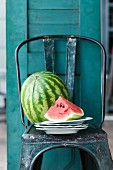 Whole watermelon and slice