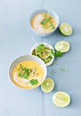 Sweet potato soup with lime and coriander gremolata
