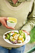Potato salad with cauliflower and a wild garlic dressing