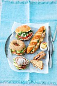 Various breakfast sandwiches with healthy fillings