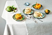 Various tangy vegetable flans