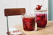 Jars of pickled red onions as gifts