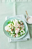 Cauliflower salad with chickpeas and a yogurt dressing